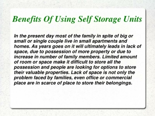 Benefits Of Using Self Storage Units