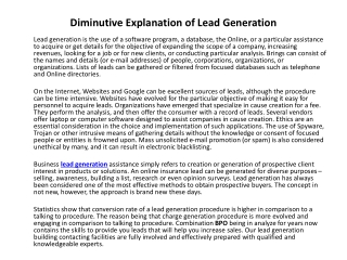 Diminutive Explanation of Lead Generation