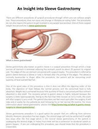 An Insight into Sleeve Gastrectomy