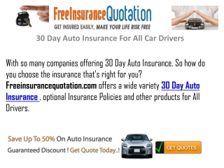 30 Days Auto Insurance For All Car Drivers