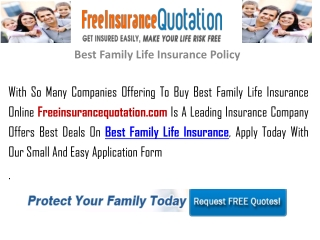 Best Family Life Insurance Policy