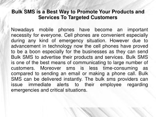 Bulk SMS is a Best Way to Promote Your Products and Services