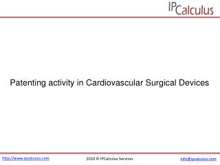 IPCalculus - Cardiovascular Surgical Devices Patenting Activ