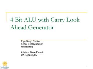 4 Bit ALU with Carry Look Ahead Generator