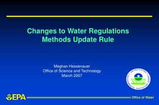 Changes to Water Regulations Methods Update Rule