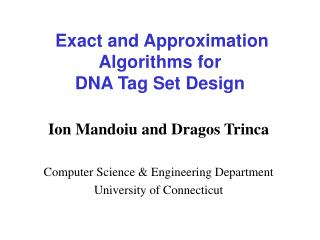 Exact and Approximation Algorithms for DNA Tag Set Design