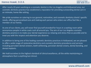 Los Angeles Cosmetic Dentistry - Dr. Hanna Hoesli