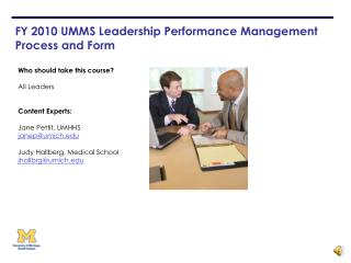 FY 2010 UMMS Leadership Performance Management  Process and Form