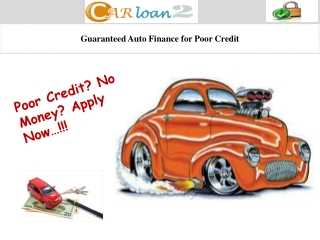 Guaranteed Auto Finance for Poor Credit