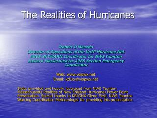 The Realities of Hurricanes