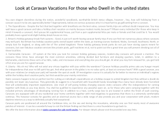 Look at Caravan Vacations For those who Dwell in the united