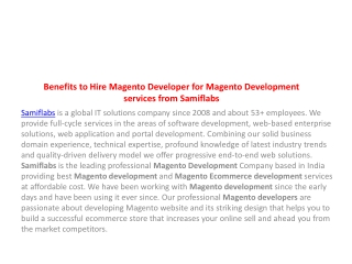 Benefits to Hire Magento Developer for Magento Development