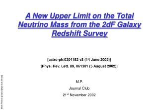 A New Upper Limit on the Total Neutrino Mass from the 2dF Galaxy Redshift Survey