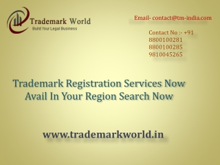 Trademark Registration Services Now Avail