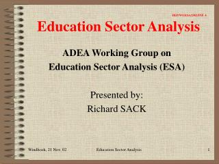 IIEP/WGESA/2002/INF. 4 Education Sector Analysis