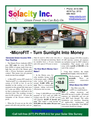 Solacity Inc. Ontario MicroFIT Program Information Brochure