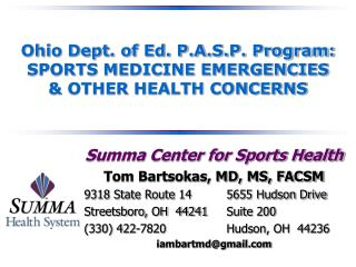 Ohio Dept. of Ed. P.A.S.P. Program: SPORTS MEDICINE EMERGENCIES  & OTHER HEALTH CONCERNS