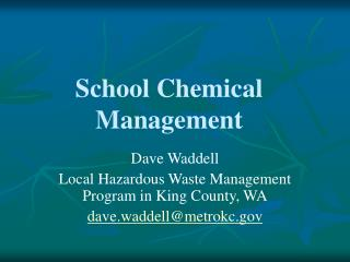 School Chemical Management