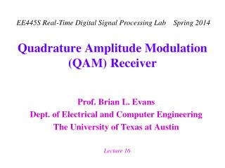 Quadrature Amplitude Modulation QAM Receiver