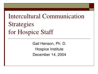 Intercultural Communication Strategies for Hospice Staff