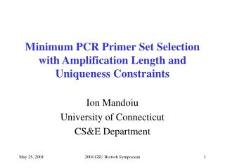 Minimum PCR Primer Set Selection with Amplification Length and ...