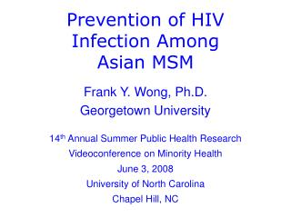 Prevention of HIV Infection Among Asian MSM