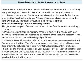 How Advertising on Twitter Increases Your Sales