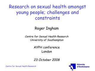 Research on sexual health amongst young people challenges and ...