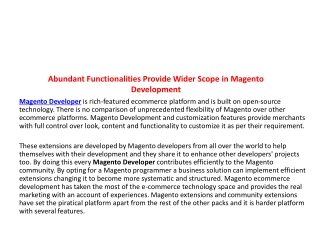 Abundant Functionalities Provide Wider Scope in Magento