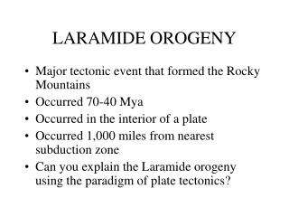 LARAMIDE OROGENY