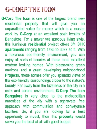 Luxury Apartment G Corp Bangalore !! 9999620966