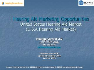 Hearing Aid Marketing Opportunities United States Hearing Aid Market (U.S.A Hearing Aid Market)