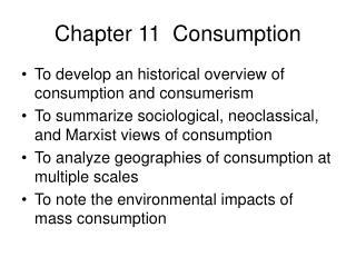 Chapter 11  Consumption