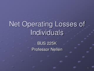 Net Operating Losses of Individuals