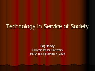 Technology in Service of Society