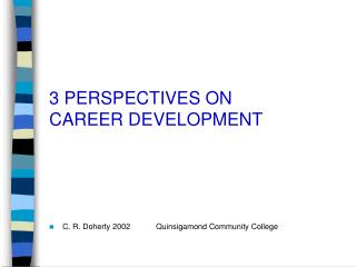 3 PERSPECTIVES ON  CAREER DEVELOPMENT