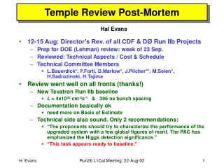 Temple Review Post-Mortem