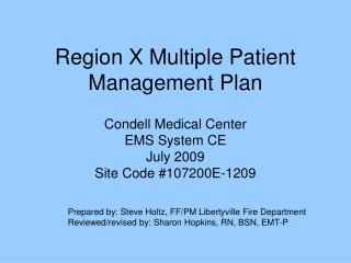Region X Multiple Patient Management Plan