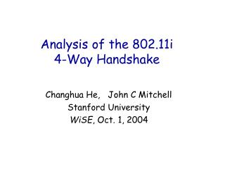 Analysis of the 802.11i 4-Way Handshake