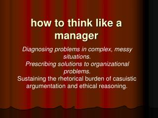 how to think like a manager