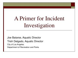 A Primer for Incident Investigation
