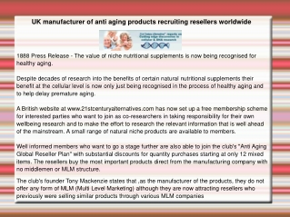 UK manufacturer of anti aging products recruiting resellers