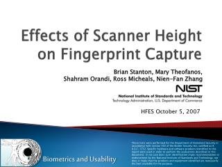 Effects of Scanner Height on Fingerprint Capture
