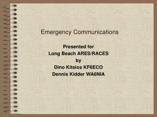 Emergency Communications