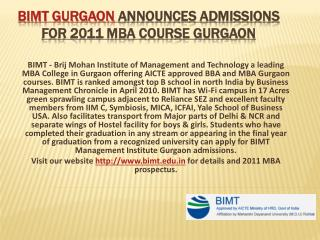 BIMT GURGAON announces admissions for 2011 MBA course