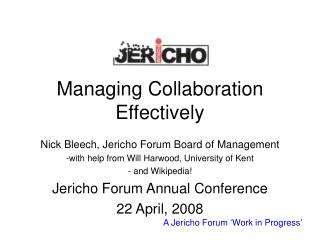 Managing Collaboration Effectively