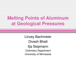 Melting Points of Aluminum at Geological Pressures