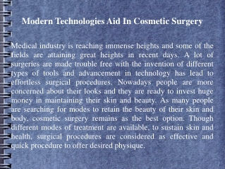Modern Technologies Aid In Cosmetic Surgery