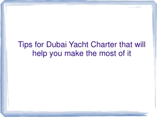 Tips of Yacht Charter