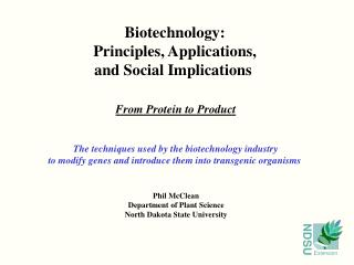 Biotechnology: Principles, Applications, and Social Implications
